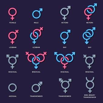 Ikona płci. mężczyzna kobieta para lgbt mężczyźni kobieta lesbijki płaskie symbole seksualne.