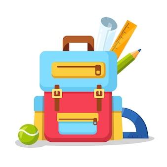 Ikona plecak szkolny. plecak dziecięcy, plecak na białym tle. torba z zapasami, linijką, ołówkiem, papierem. tornister ucznia. edukacja dzieci, powrót do koncepcji szkoły. ilustracja