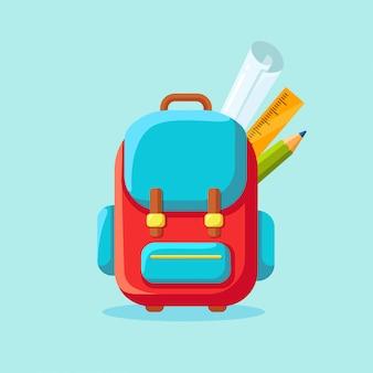 Ikona plecak szkolny. plecak dziecięcy, plecak na białym tle