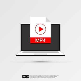 Ikona plików filmowych na koncepcji ekranu laptopa.