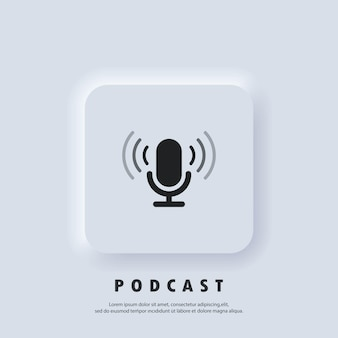 Ikona podcastu. ikona mikrofonu. logo, aplikacja, interfejs użytkownika. ikony podcastów radiowych. wektor. biały przycisk sieciowy interfejsu użytkownika neumorphic ui ux. neumorfizm