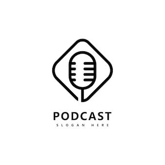 Ikona podcastu logo design vector szablon symbole mikrofonu