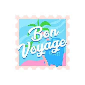 Ikona podróży bon voyage z palmami i walizką na znaczku pocztowym. etykieta lub godło dla usługi biura podróży lub aplikacji telefonu komórkowego na białym tle. ilustracja kreskówka wektor