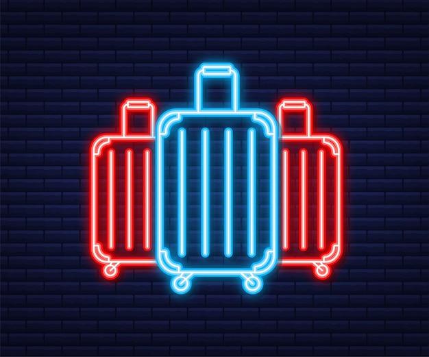 Ikona podróży do projektowania stron internetowych. ikona walizki. neonowy styl. ilustracja wektorowa.