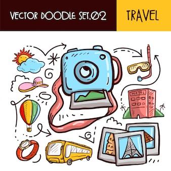 Ikona podróży doodles. zestaw ilustracji wektorowych