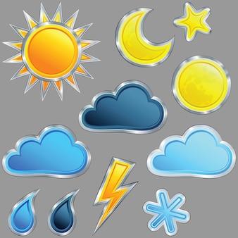 Ikona pogody: słońce; księżyc; gwiazda; chmura; deszcz; burza; błyskawica i śnieg