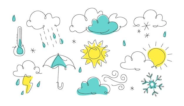 Ikona pogody w sztuce liniowej ilustracja prognozy w stylu jednej linii ciągły zarys sztuki linii