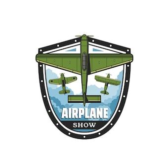 Ikona pokazu samolotu z retro samolotem śmigłowym i dwupłatowcem latającym na niebie