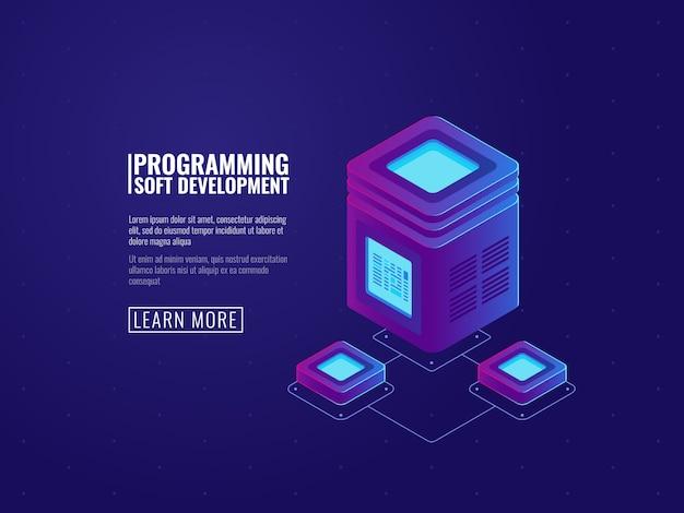 Ikona pokoju serwera, przetwarzanie dużych danych, futurystyczne centrum danych, tworzenie sieci