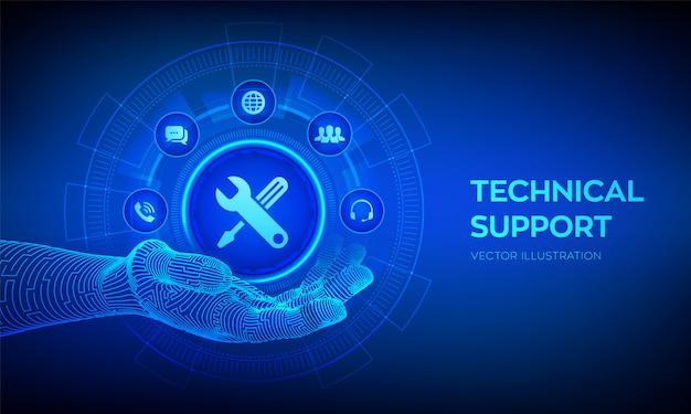 Ikona pomocy technicznej w robotycznej dłoni. pomoc dla klientów. wsparcie techniczne.