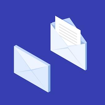 Ikona powiadomienia izometryczny koperty