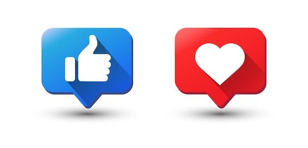 Ikona powiadomienia like. ikona aplikacji sieci społecznościowej.