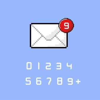 Ikona powiadomienia o wiadomości w stylu pixel art