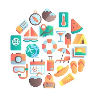 Ikona powołania letniego. podróżuje wakacje, podróżuje bagaż i lato plażowego parasola płaskie ikony ilustracyjne