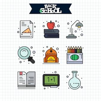 Ikona powrót do szkoły. zestaw ikon linii edukacji i uczenia się.
