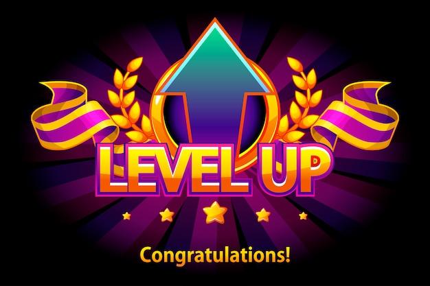 Ikona poziomu w górę, ekran gry. ilustracja ze wstążką i strzałką nagrody puple. graficzny interfejs użytkownika do tworzenia gier 2d. zwyczajna gra. może być używany w grze mobilnej lub internetowej.