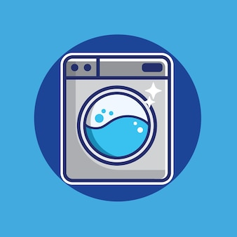 Ikona pralki. znak usługi pralnicze. styl kreskówek do czyszczenia odzieży