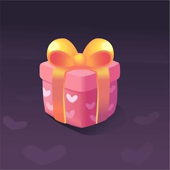 Ikona prezentu w kolorze różowej nagrody za pełny interfejs użytkownika gry. premia