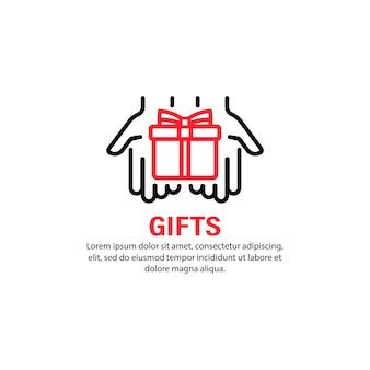 Ikona prezenty. ręka trzyma pudełko upominkowe. teraźniejszość. koncepcja wakacje. urodziny, boże narodzenie, ślub, nowy rok. wektor na na białym tle. eps 10.