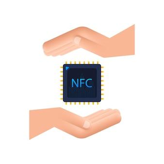 Ikona procesora nfc z rąk. układ nfc. komunikacja bliskiego zasięgu. czas ilustracja wektorowa.