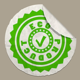 Ikona produktu ekologicznego na papierowej etykiecie realistyczna papierowa naklejka z zakrzywioną krawędzią