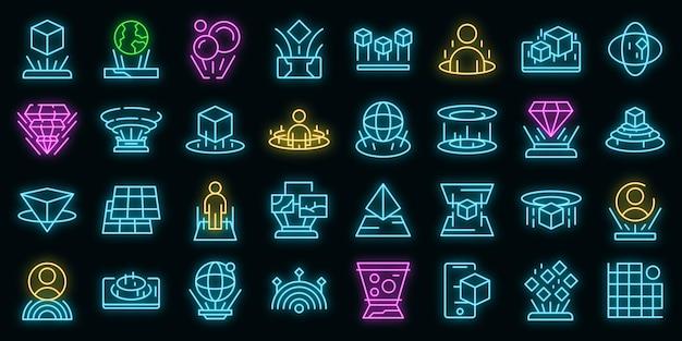 Ikona projekcji hologramu. zarys projekcji hologramu wektor ikona neonowy kolor na czarno