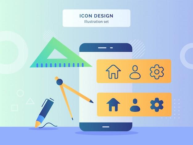 Ikona projekt koncepcja kompas rysunek linijka długopis z przodu inteligentny telefon z ikona koła zębatego ludzi domu na monitorze płaski.