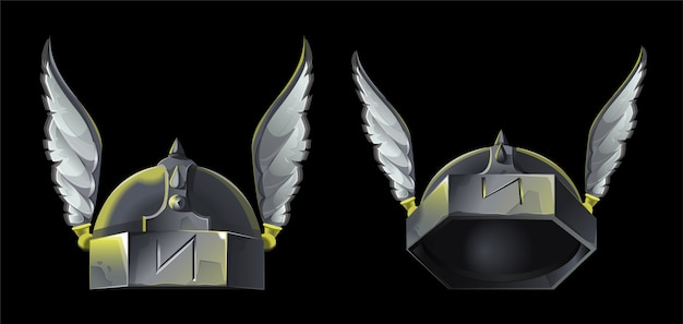 Ikona projektowania gry na temat wikingów lub średniowiecznych. dwa metalowy hełm z ozdobnymi skrzydłami dla silnego wojownika. są w różnych pozycjach z przodu i są podniesione do animacji. nowoczesny styl.