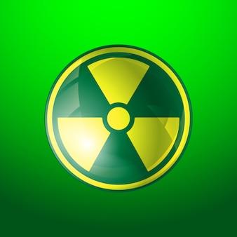Ikona promieniowania, symbol radioaktywności na białym tle na zielonym tle.
