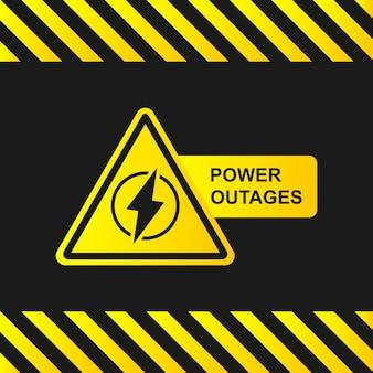 Ikona przerwy w zasilaniu na czarnym tle z paskami uwagi. żółto-czarny sztandar. ilustracja wektorowa eps 10