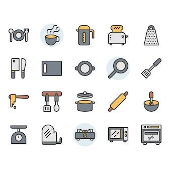 Ikona przybory kuchenne i zestaw symboli
