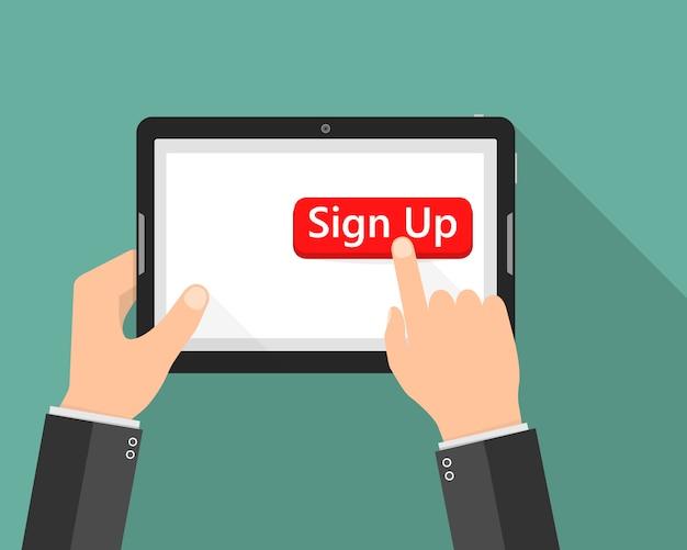 Ikona przycisku kliknij, aby się zarejestrować. ilustracja