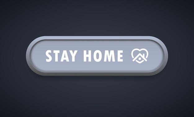 Ikona przycisku pozostań w domu. kolorowy przycisk układu ikony sieci web. blogowanie. koncepcja mediów społecznościowych. koronawirus. pandemia. ilustracja wektorowa. eps 10.