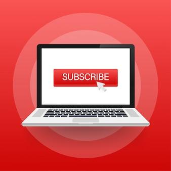 Ikona przycisku subskrybuj. ilustracja. koncepcja biznesowa subskrybuj piktogram.