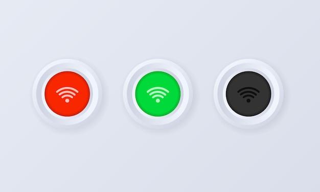 Ikona przycisku sygnału wifi w stylu 3d
