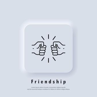 Ikona przyjaźni. ikona pięści. uścisk dłoni partnerów biznesowych. ludzkie powitanie. nowa normalna. wektor. ikona interfejsu użytkownika. biały przycisk sieciowy interfejsu użytkownika neumorphic ui ux. neumorfizm