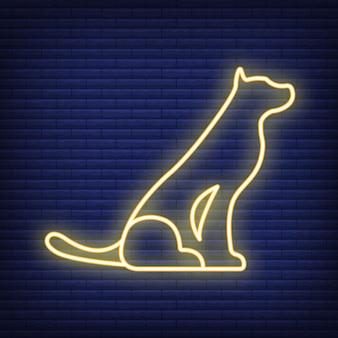 Ikona psa. koncepcja medycyny opieki zdrowotnej i opieki nad zwierzętami. neonowe i czarne zwierzę domowe. symbol zwierząt, ikona i odznaka. prosta ilustracja wektorowa na ciemny mur.