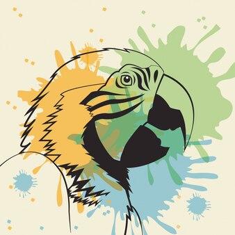Ikona ptak papuga. zwierzę i sztuka