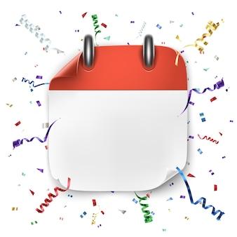 Ikona pusty kalendarz realistyczny z wstążką i konfetti na białym tle