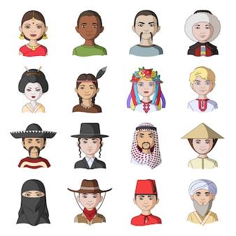 Ikona rasy kreskówka zestaw. awatar osób. kreskówka na białym tle zestaw ikona rasy ludzkiej.