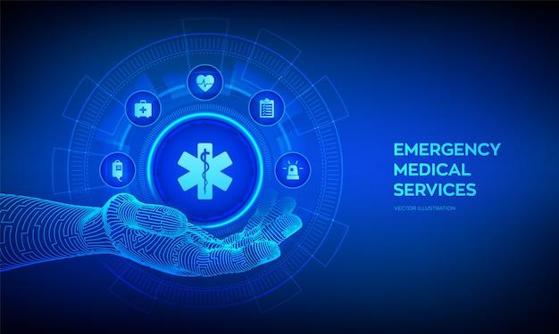 Ikona ratownictwa medycznego w robotycznej dłoni. wsparcie medyczne online. aplikacja w medycynie i opiece zdrowotnej.