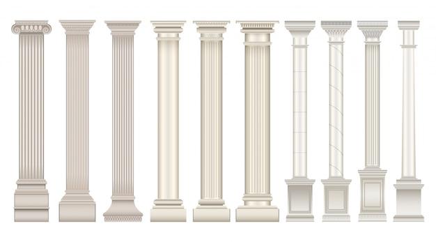 Ikona realistyczne zestaw antyczne kolumny. filar klasyczny na białym tle realistyczne zestaw ikon. ilustracja antyczne kolumna na białym tle.