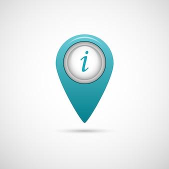 Ikona realistycznego wskaźnika dla mapy w kolorze niebieskim na szaro.