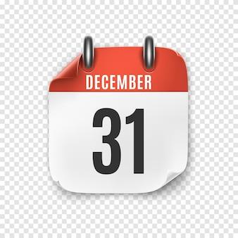 Ikona realistyczny kalendarz grudnia. sylwester.