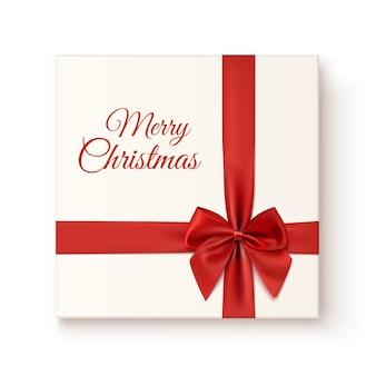 Ikona realistyczny prezent na białym tle na białym tle, widok z góry. wesołych świąt bożego narodzenia szablon karty z pozdrowieniami.