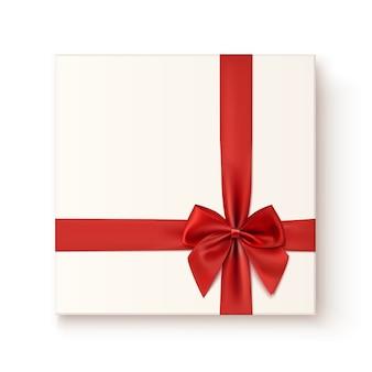 Ikona realistyczny prezent z czerwoną wstążką łuk, widok z góry. ilustracja.