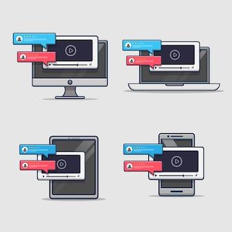 Ikona recenzji przeglądarki wideo na urządzeniu cyfrowym