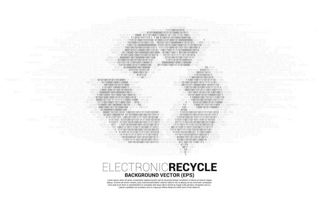 Ikona recyklingu z jednego i zerowego stylu cyfr kodu binarnego.