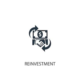 Ikona reinwestycji. prosta ilustracja elementu. projekt symbolu koncepcji reinwestycji. może być używany w sieci i na urządzeniach mobilnych.