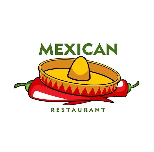 Ikona restauracji meksykańskiej, wektor papryczki jalapeno chili i kapelusz sombrero. godło kreskówka z tradycyjnymi symbolami meksyku. element projektu menu kawiarni łacińskiej lub szyld na białym tle